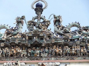 The roof of Chua Ba Thien Hau temple in Cholon, Ho Chin Minh City